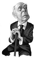 Caricatura de Jorge Luis Borges realizada por Fernando Vicente