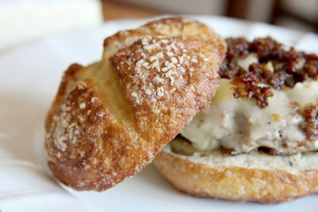 ... : turkey burgers with bacon jam, brie & homemade pretzel rolls