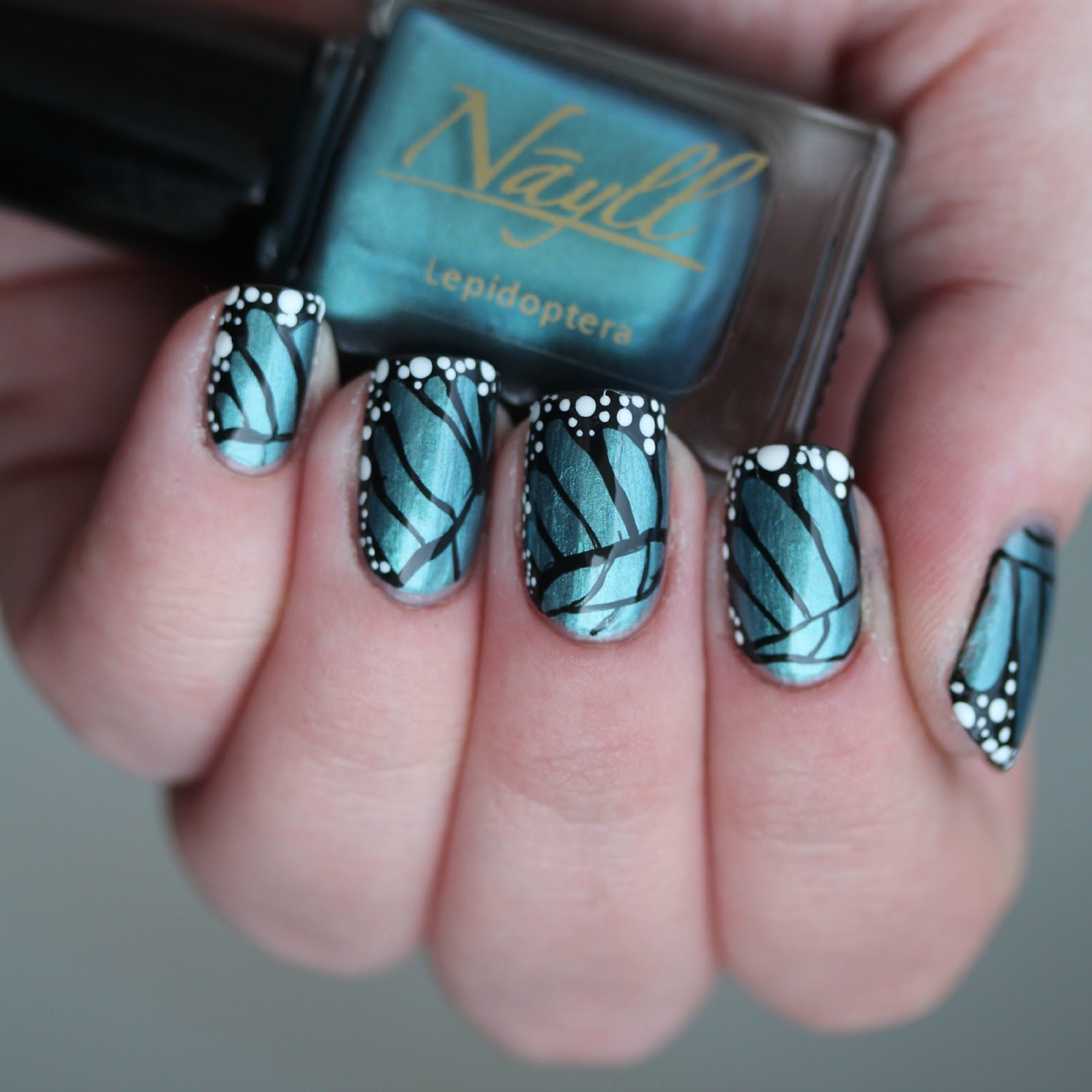 Freehand Butterfly Nail Art with My Custom Nayll Polish Lepidoptera ...