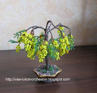 Дерево мимоза из бисера. Мастер-класс