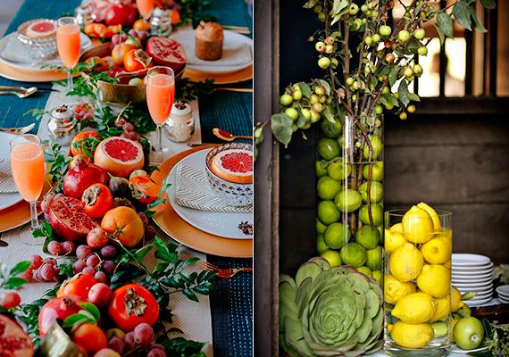 mesa decorada com frutas diversas, romã e limões