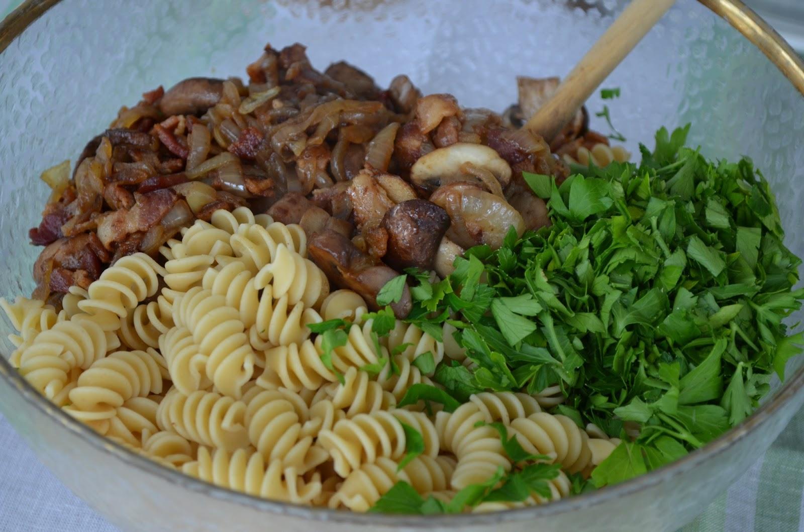 Fusilli With Bacon, Onions, And Mushrooms Recipe — Dishmaps