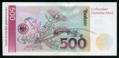 German money currency notes 500 Deutsche Mark