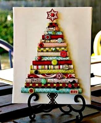 Enfeites de Natal, árvore de Natal com retalhos de tecidos
