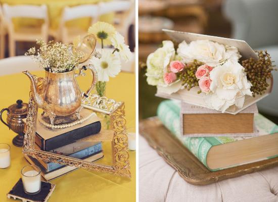 Centritavola da matrimonio alternativi, alternative wedding centerpieces, vintage books centerpiece