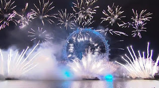 New Year 2012 Eve Celebrations, England, London, Fireworks across London Eye -Travel Europe Guide
