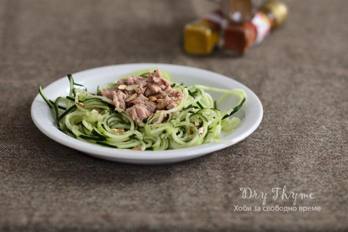 спагети от краставици с риба тон
