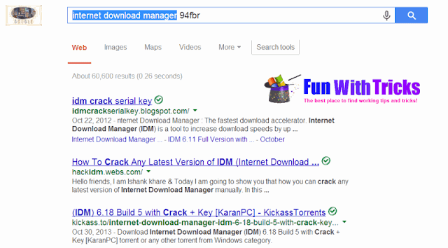 Find serial key of any software through Google search