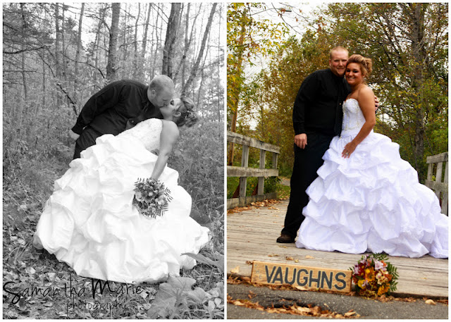 bride and groom dip in forest