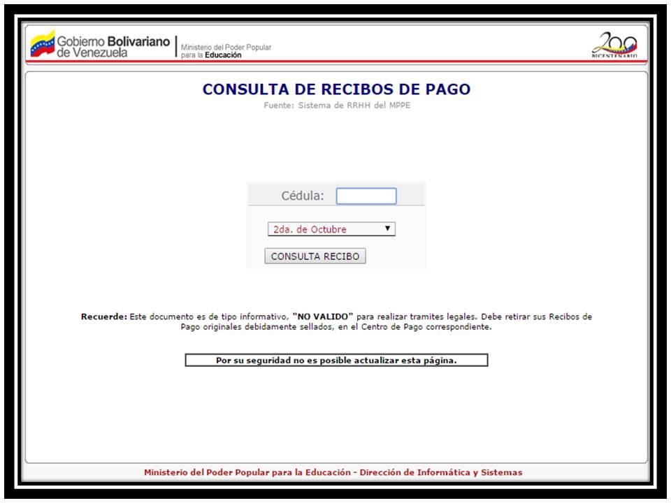 REVISE RECIBO DE PAGO solo coloque cedula y ya, SIN COLOCAR CONTRASEÑA.!