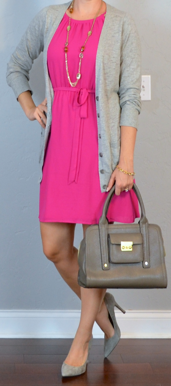 Outfit Posts outfit post hot pink dress grey boyfriend cardigan grey pointed pumps