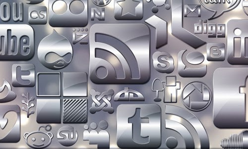 Simple Glossy Silver Social Media Icons