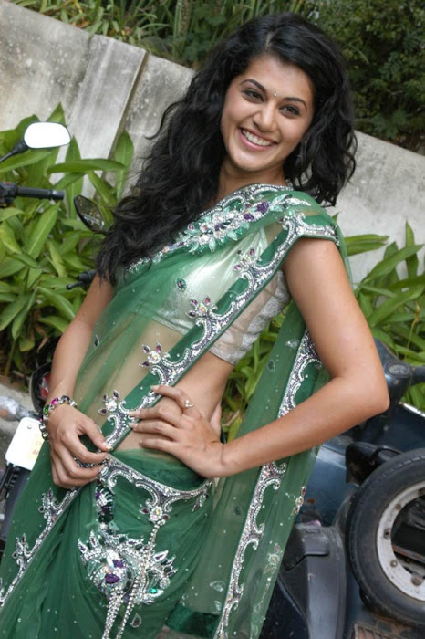 tapsee in shadow movie fame green saree , unseen pics