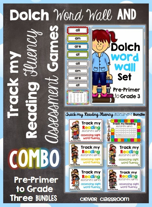 Dolch Word Wall and Track my Reading Fluency Assessment Games COMBO including Pre-Primer, Primer, Grade One, Grade Two and Grade Three files
