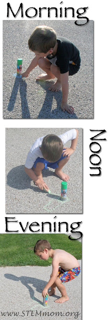 Boy Tracing shadows morning, noon, and evening: STEMmom.org