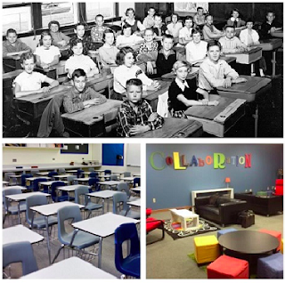 old fashioned and modern classrooms