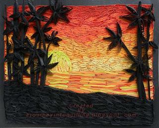 пейзаж в технике квиллинг: силуэты пальм на фоне заката