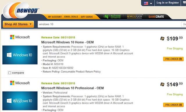سعر نسخة ويندوز 10