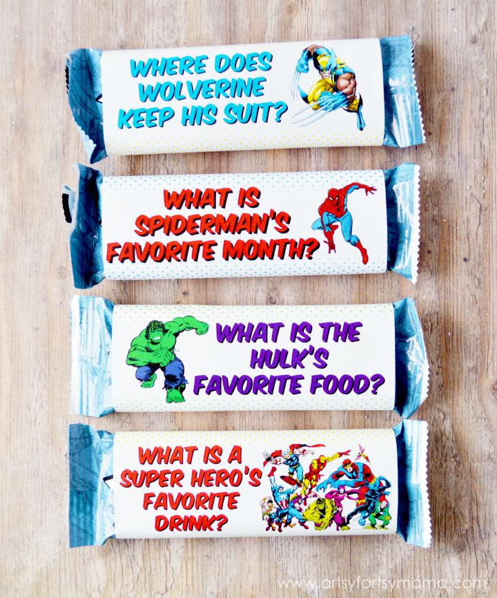 Free Printable MARVEL Super Hero Granola Bar Wrappers at artsyfartsymama.com