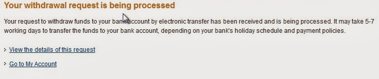 PayPal Withdrawal Request is being Processed