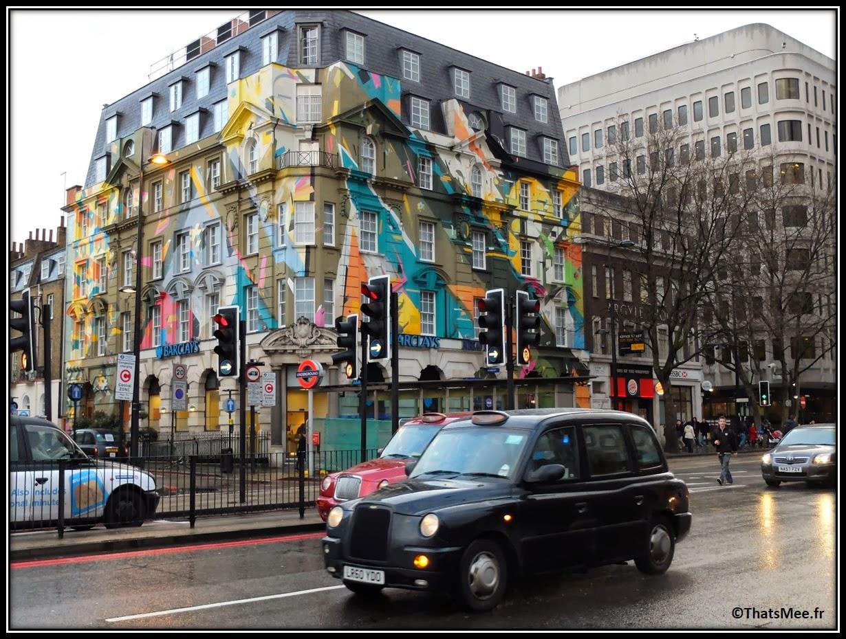 Street Art Londres Saint Pancras taxi londonien London
