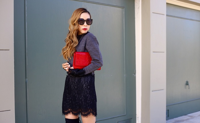 English facotory lace sweater, Kendra scott earrings, gorjana necklace, saint laurent clutch, steve madden otk boots, fall fashion, san franscisco, streetstyle, fashion blog, karen walker sunglasses, The Life Changing Magic of Tidying Up The Japanese Art of Decluttering and Organizing, marie kondo, date night
