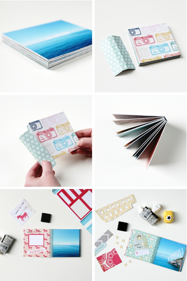You should now have a neat stack of photo pages secured together ...: www.gatheringbeauty.com/2014/10/diy-instagram-mini-album.html
