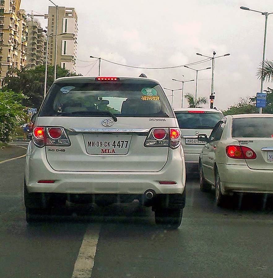 Design car number plates india - This Car Has Brazen Added The Words Mla To The Number Plate Clearly To Intimidate Policemen And The Public
