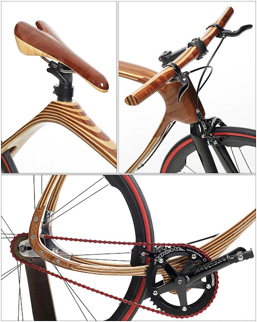 wooden saddle, wooden handcrafted handlebar, frame detail