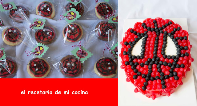 tarta y galletas de spiderman