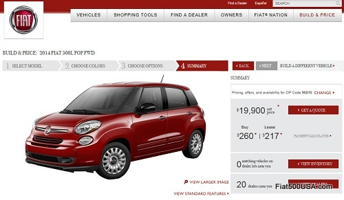 Fiat 500L website