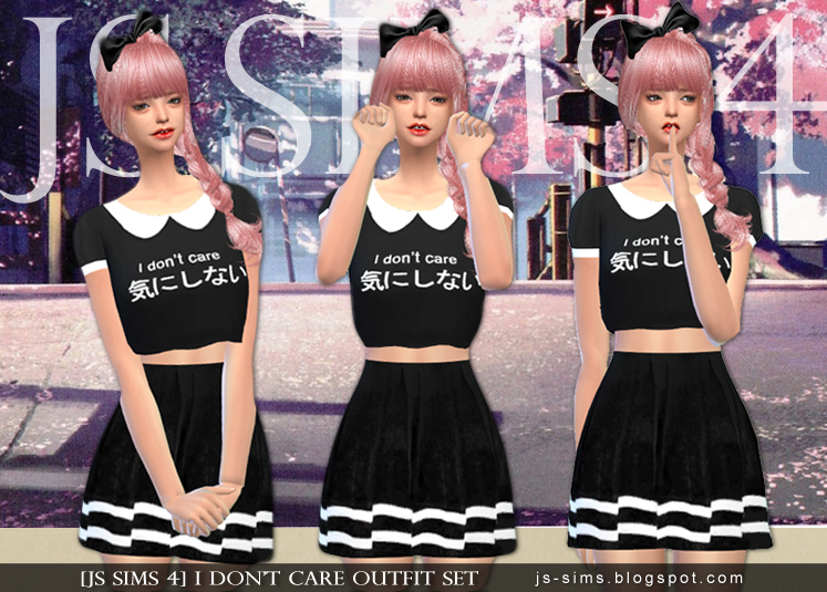 [JS SIMS 3&4] I Don't Care Outfit Set