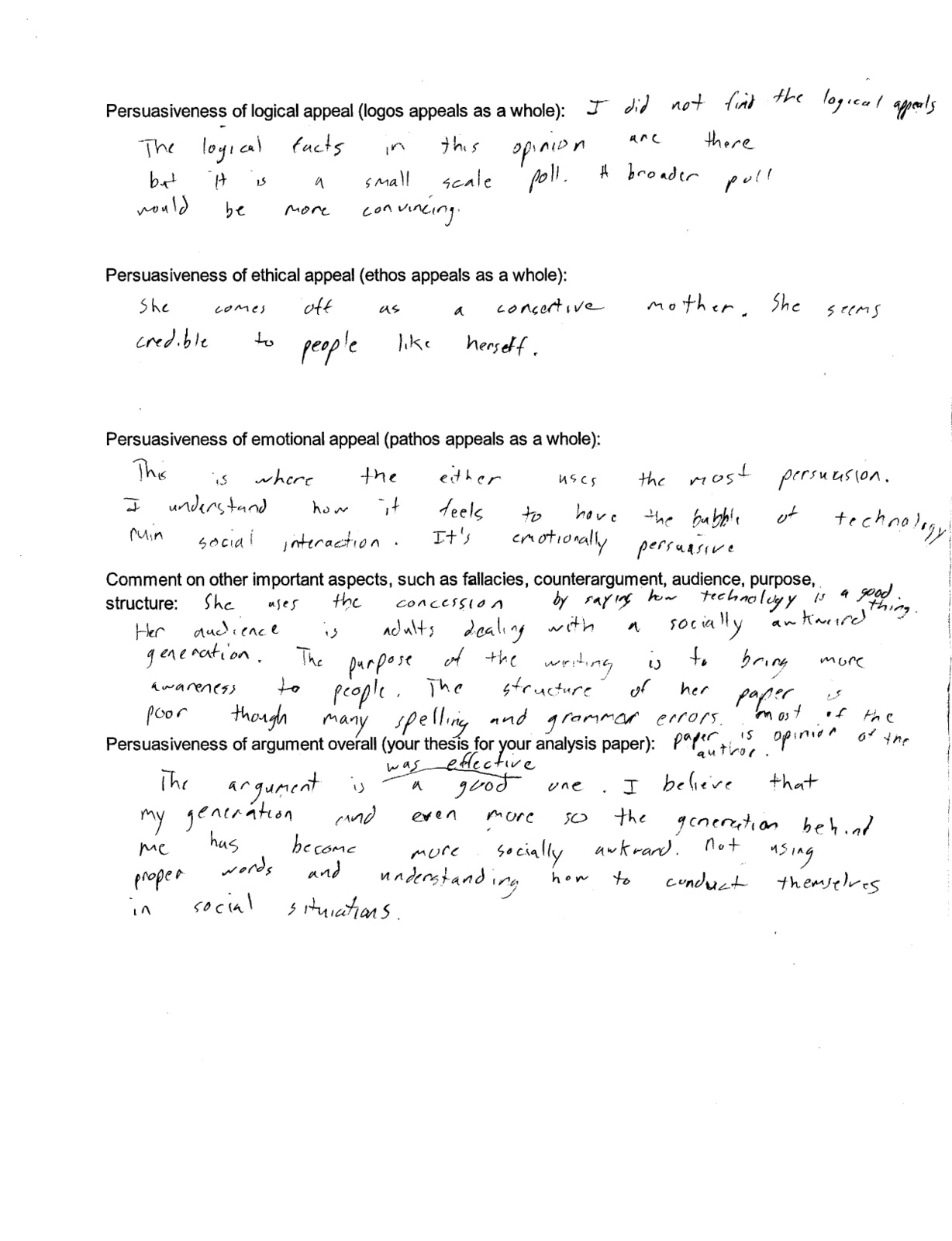 Michael s Eng 112 Blog Argument analysis worksheet