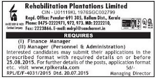 Applications are invited for Finance Manager, Personnel and Administration Manager Posts in Rehabilitation Plantations Ltd Kollam