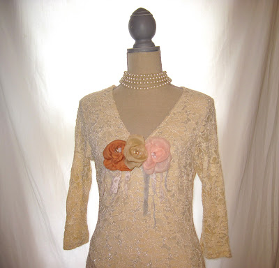 Tea Stained Vintage Cotton and Metallic Shiny Thread Lace Blouse