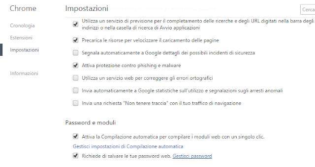 Rimuovere password memorizzate Google Chrome