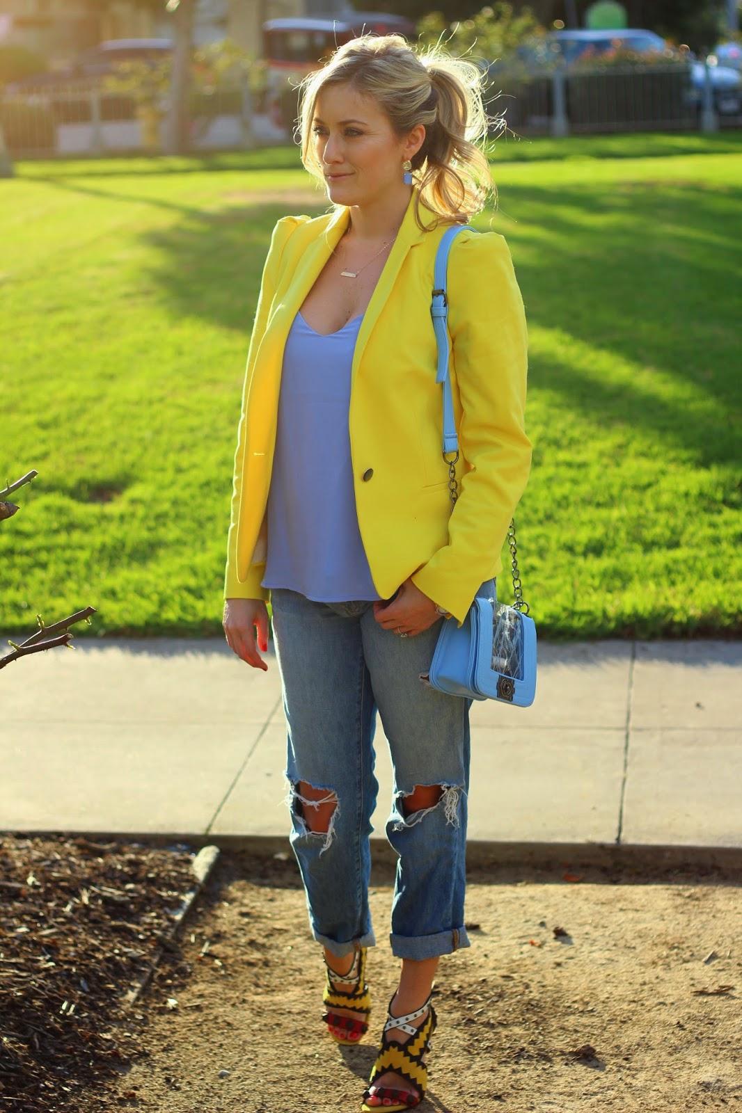 Yellow Blazer, J Brand Boyfriend Jeans, Colorful Heels