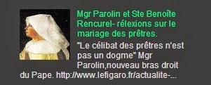 Mgr Parolin et Ste Benoîte Rencurel- rélexions sur le mariage des prêtres.