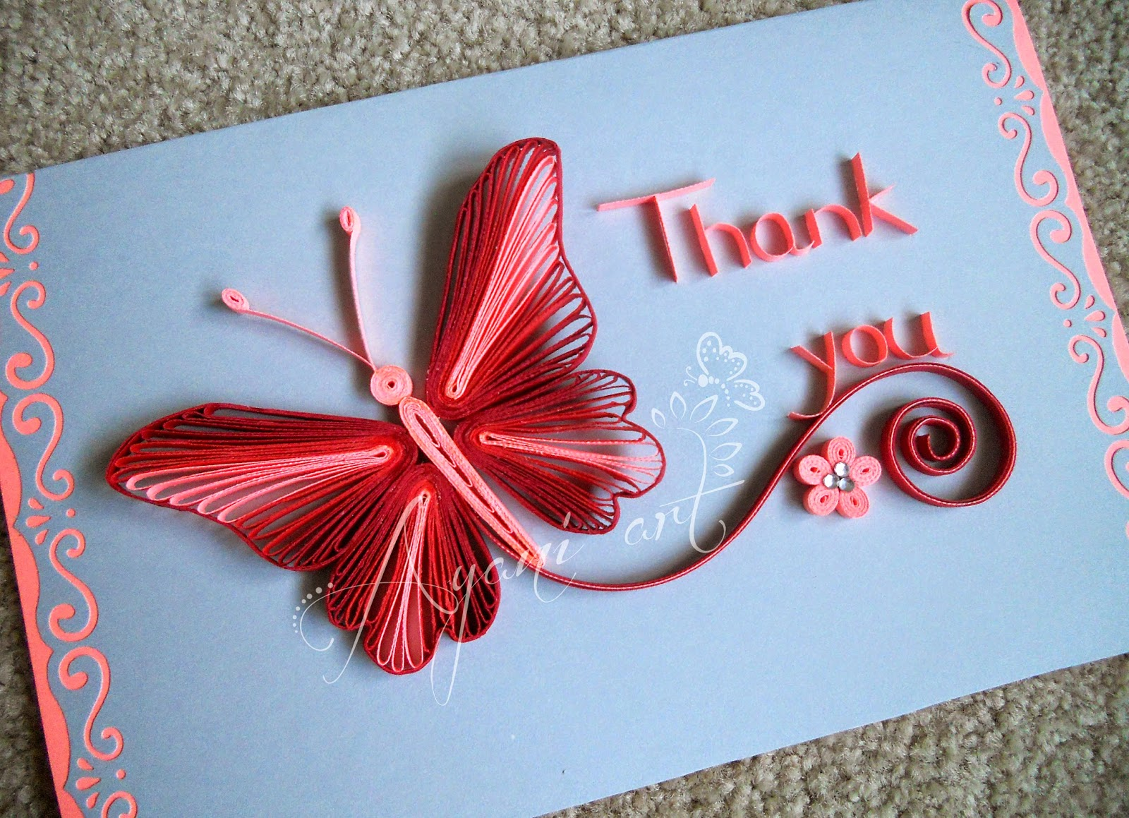 Ayani art: Quilling Card Pink Butterfly for Quilling Butterfly Tutorial  75tgx