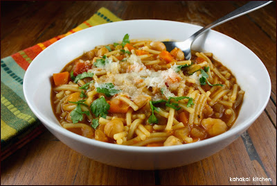mark bittman's spanish-style pasta e fagioli (pasta & bean soup) for souper (soup, salad, & sammie) sundays