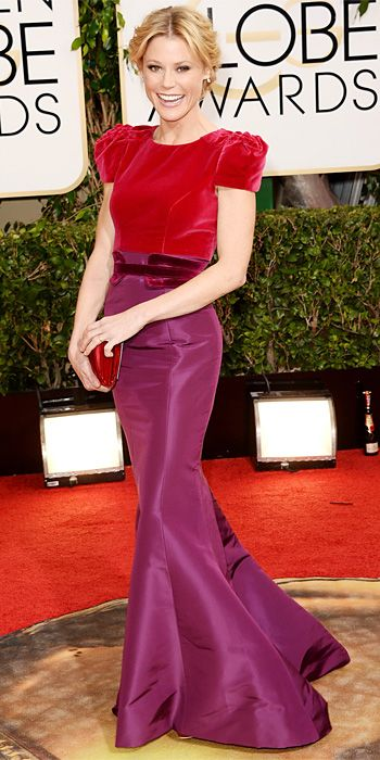 Julie Bowen in a red and purple Carolina Herrera dress at the 2014 Golden Globe Awards