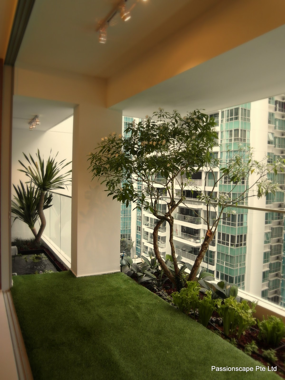 Singapore landscape design balcony in style 1 for Condominium decoration