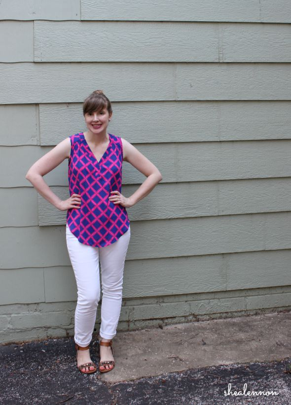 summer outfit idea: neon print top with white denim | www.shealennon.com