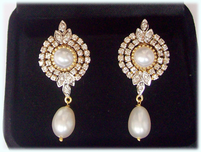 Gold Pearl Earrings Designs Silver pearl drop earrings palm berries