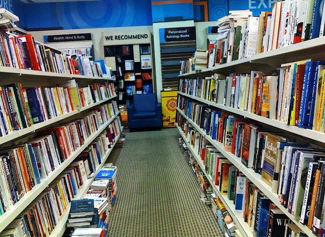 rows of books in bookshop