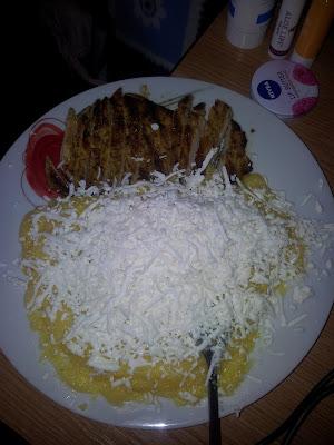 lunch, polenta, cheese, pork