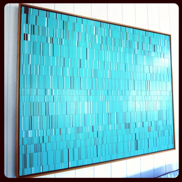 Turquoise wood and paint piece by Brian Wills in Coco of COCOCOZY's living room