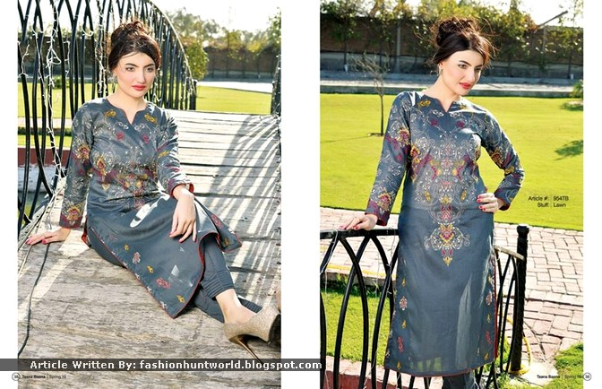 Grey And Blue Embroidered Long Shirt With Shalwar