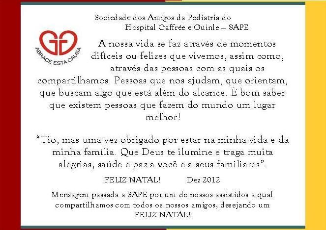 Well-known SAPE - Sociedade dos Amigos da Pediatria do Hospital Gaffrée e  XX07