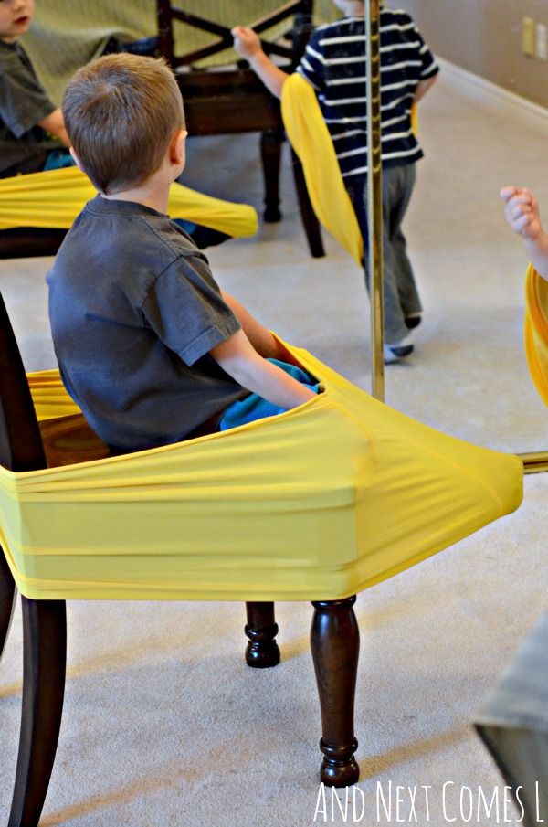 Using homemade stretchy resistance bands as a fidget tool for kids from And Next Comes L